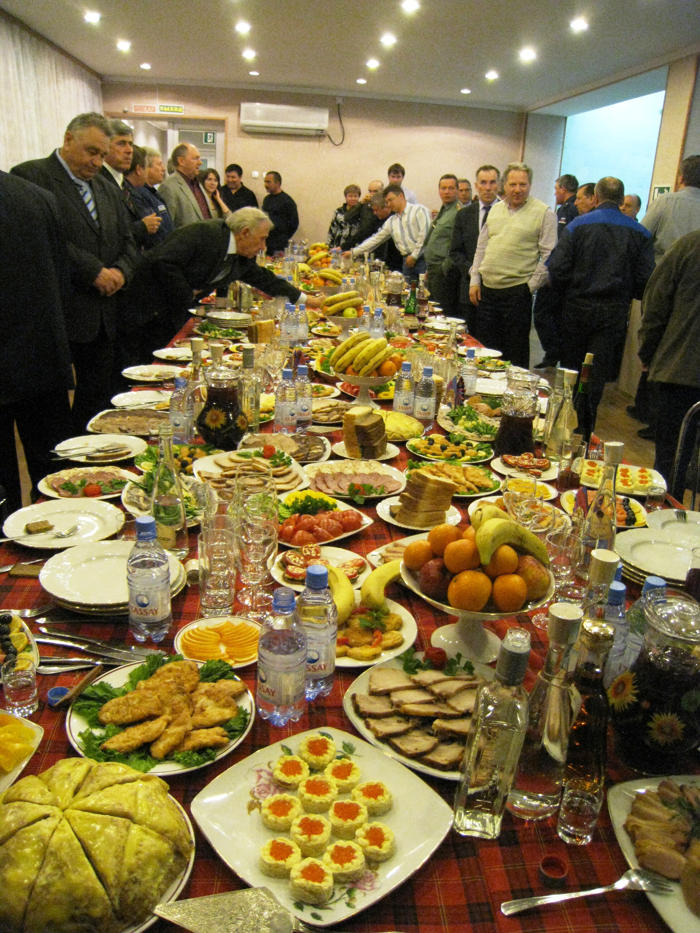Post-launch_feast_in_Baikonur